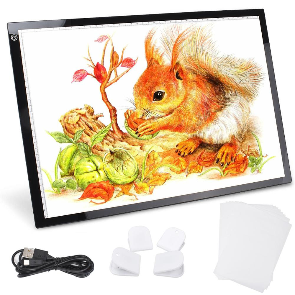 A3 Adjustable LED Light Box Copy Tracing Board Pads Stepless Dimming Digital Drawing Tablet USB Powered For Animation Sketching