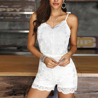 Lace Embroidery One Piece Overalls for Women Sexy Spaghetti Strap Summer Rompers Women Jumpsuits Solid White Playsuits