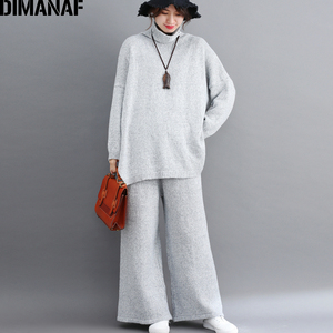 Image 3 - DIMANAF בתוספת גודל נשים סטי חורף בציר סריגה חליפת גדול גודל ליידי חולצות Loose ארוך מכנסיים סוודר גולף נשי בגדים