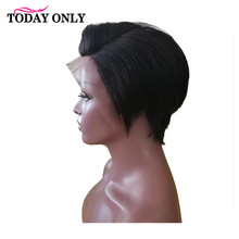 TODAYONLY Brazilian Straight Lace Front Wig Short Human Hair Wigs For Black Women Bob Lace Front Wigs 13x4 Lace Frontal Wig Remy все цены