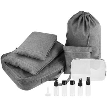 6PCS Travel Packing Bags Set Portable Splash-proof Wash Bags Packing Organizer Packing Cubes with 5PCS Travel Bottles