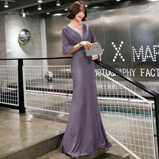 Elegant Evening Dress Purple Mermaid Long Women Party Dresses O-Neck Half Sleeve Formal Gowns Shawl Shining Robe De Soiree K199 4