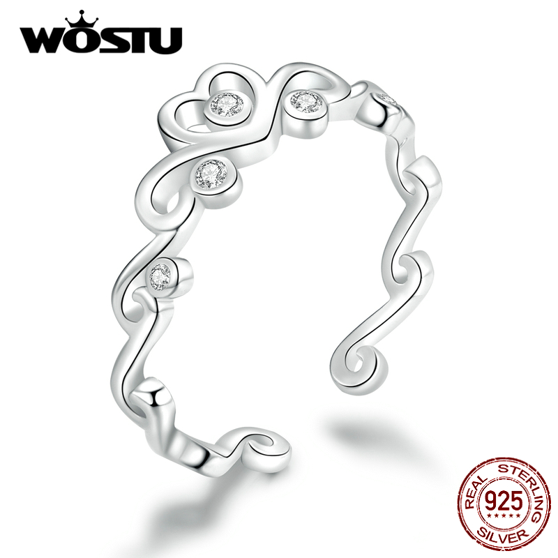 WOSTU Crown Heart Wedding Rings 925 Sterling Silver Adjustable Size Open Ring Finger For Women Fashion Silver 925 Jewelry CTR105