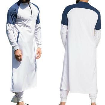 Men Muslim Gowns Men Jubba Thobe Arabic Islamic Clothing  Middle East Arab Abaya Dubai Long Robes Traditional Kaftan Jacket Top 2