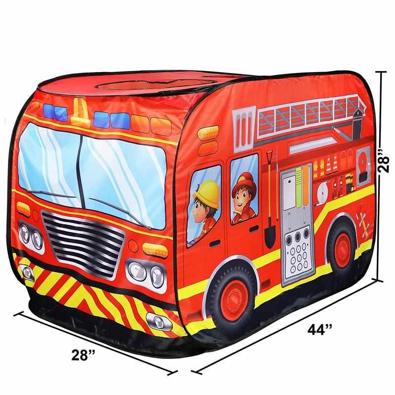 Kinder Spielzeug Hütte Spielen Zelt Feuerwehrmann Polizisten Pretend Spielen Feuer Lkw/Polizei Auto Design Kinder Gamehouse Einfach Falten spielhaus