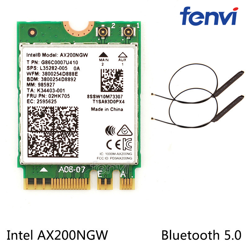 Dual band <font><b>802.11ax</b></font> For WIfi 6 Intel AX200 NGFF Wifi Wireless Card AX200NGW MU-MIMO 5Ghz Up to 2.4Gbps Wifi+BT 5.0 With Antennas image