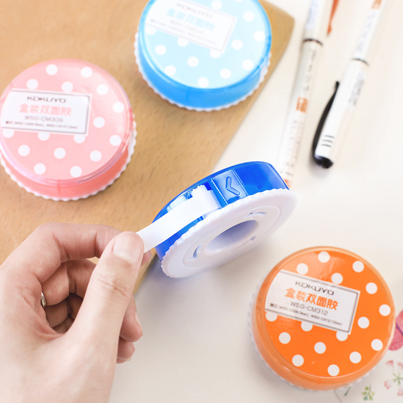 1 pc KOKUYO WSG-CM Double-Sided Tape Box 3m*12mm 3m*9mm Replacement 12mm*5m 9mm*5m Cute Wave Point Design DIY Tools