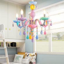 Lustre moderne en cristal coloré Macaron, bougies arc-en-ciel, pour fille américaine, princesse, Luminaire pour chambre d'enfant