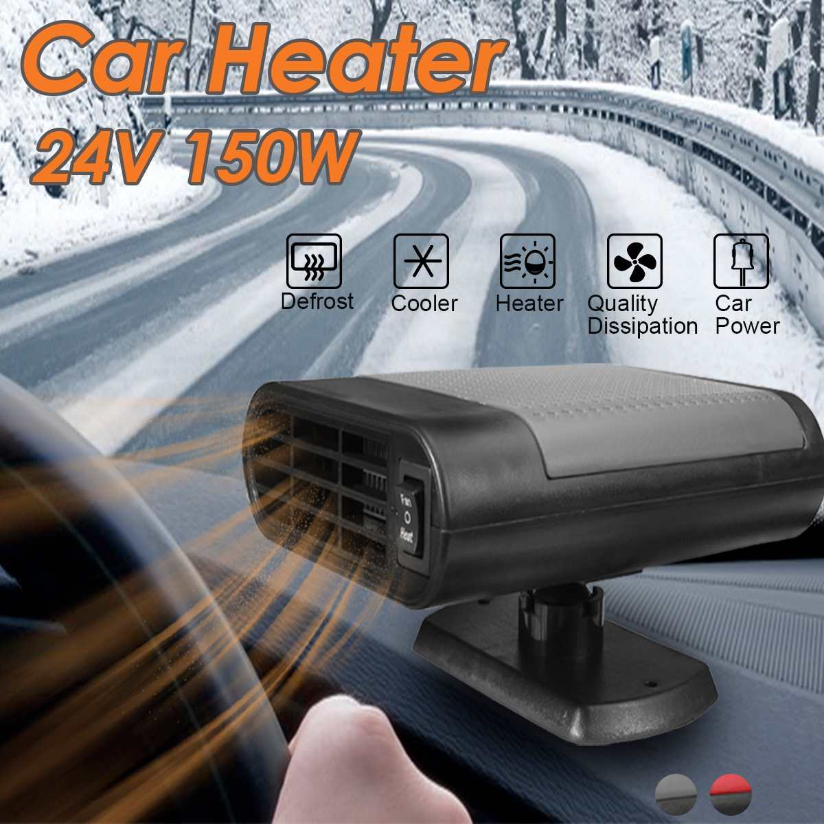 24V 200W Car Heaters Electric Heaters Glass Defrost Defog Heating Machine Car Heating Accessories Fan-Heater Window Mist Remover