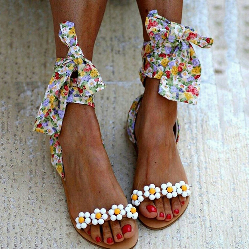 Ankle Strap Gladiator Sandals Summer Women Casual Sandals Fish Mouth Bohemian Bandage Ladies Beach Lace-up Shoes
