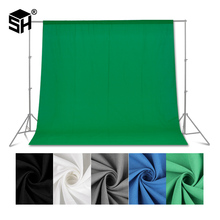 Green screen Photography Backdrops Green/White/Black/Blue/Grey Muslin Polyester cotton Professional Background for Photo Studio