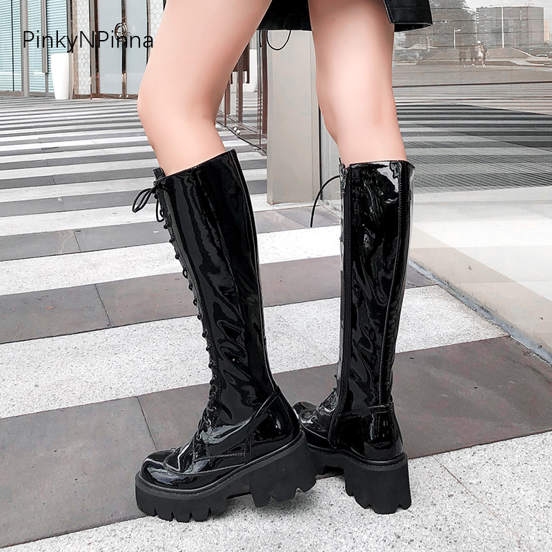 Women Patent Leather Cowhide Knee High Boots Black Laced Up Platform Long Boots Paris Fashion Weeks New Style Nightclub Shoes