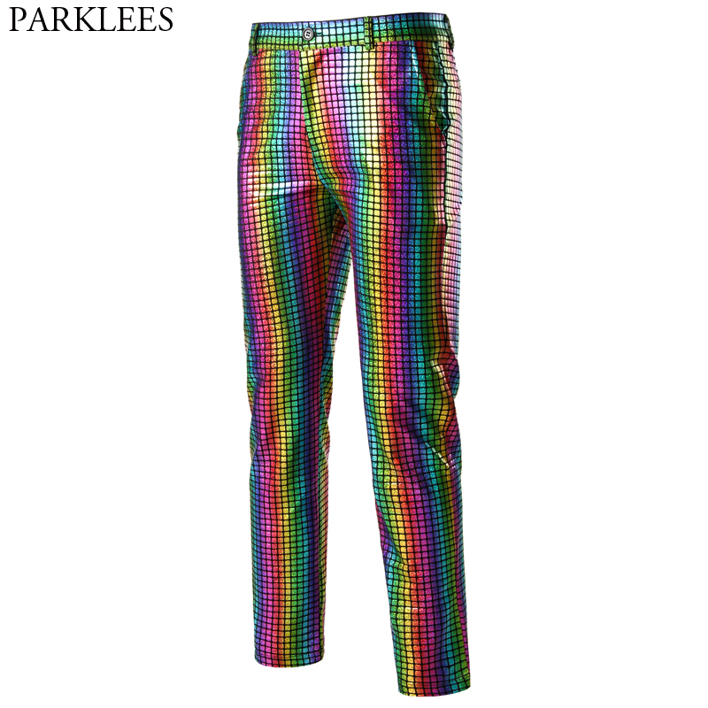 Shiny Rainbow Plaid Hologram Pants Men Nightclub DJ Punk Rockpants Mens Christmas Party Stage Prom Trousers For Dancers Singers
