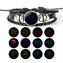 Hot Sale12 Constellation Bracelet Charms Zodiac Sign Glass Punk Jewelry  Handmade Multilayer Leather Women Men Gift