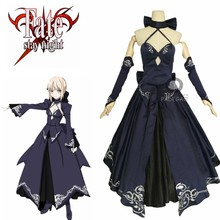Fate Stay Night Saber Alter Arturia Pendragon Cosplay Kostüm Frauen Anime FGO Null Fate Schwarz Braut Gothic Lolita Kleid(China)