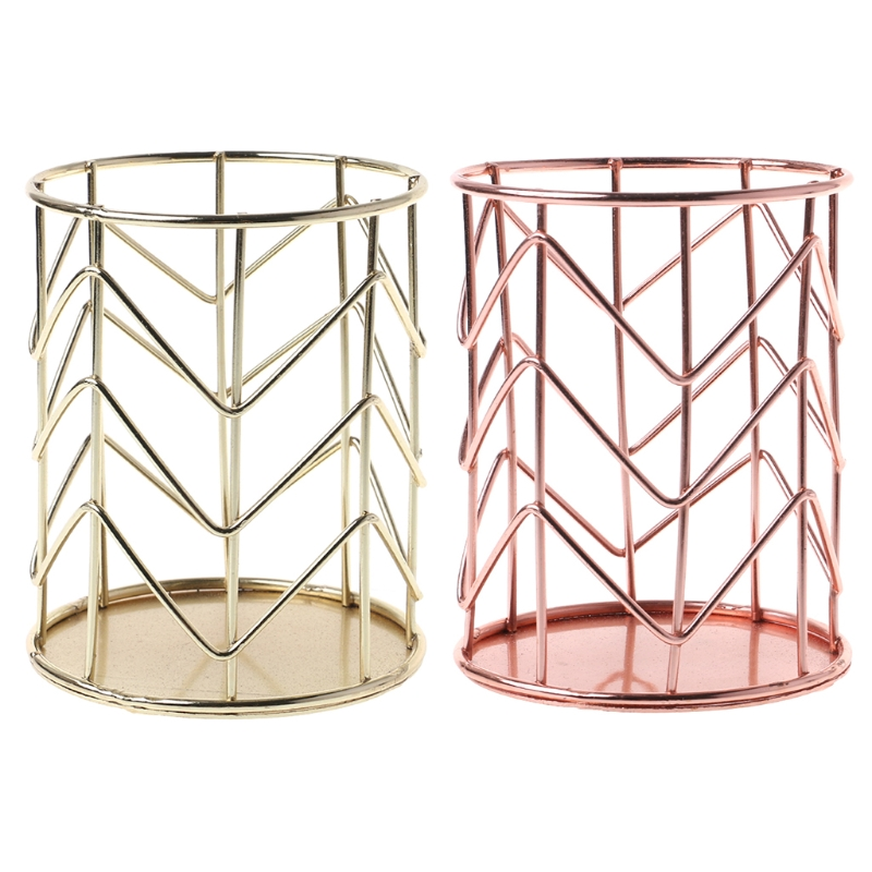 Rose Gold Pen Pencil Pot Holder Container Organizer Home Desk Stationery Decor