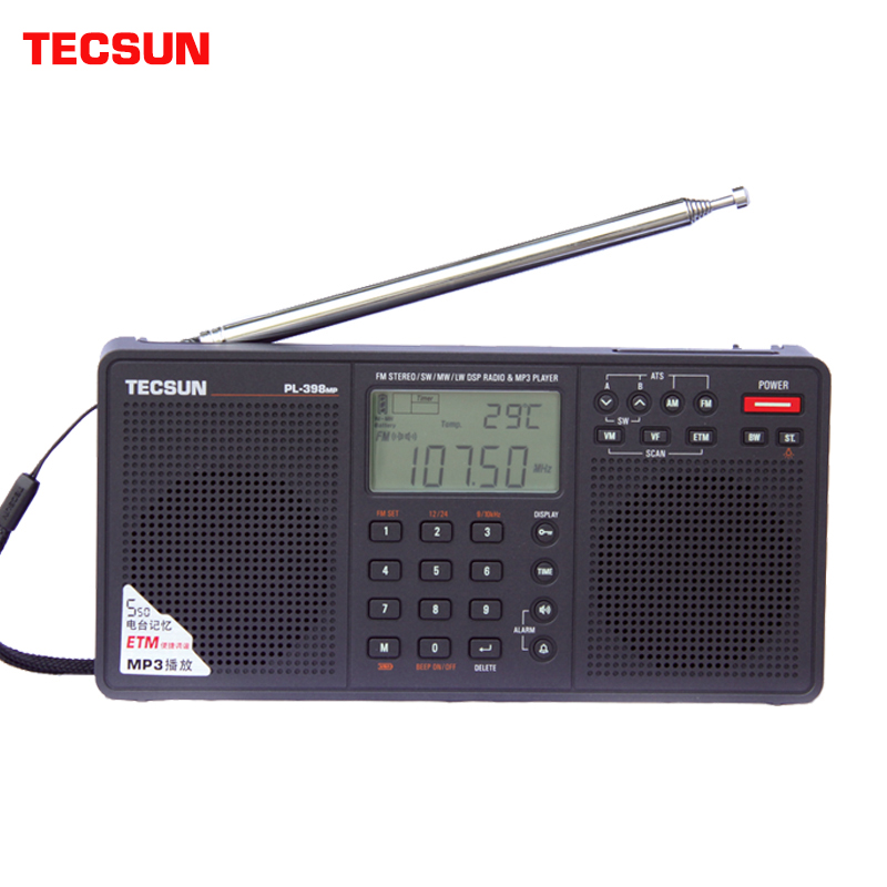 Tecsun PL-398MP Portable World Radio Full Band Digital Tuning Stereo FM/AM/SW with ETM ATS DSP Dual Speakers Receiver MP3 Player