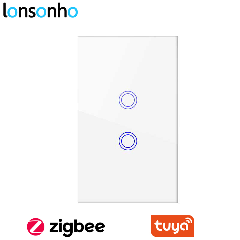 Lonsonho Tuya Zigbee Smart Switch US 1 2 3 Gang Wireless Remote Control Wall Touch Panel Light Switch Smart Home Automation