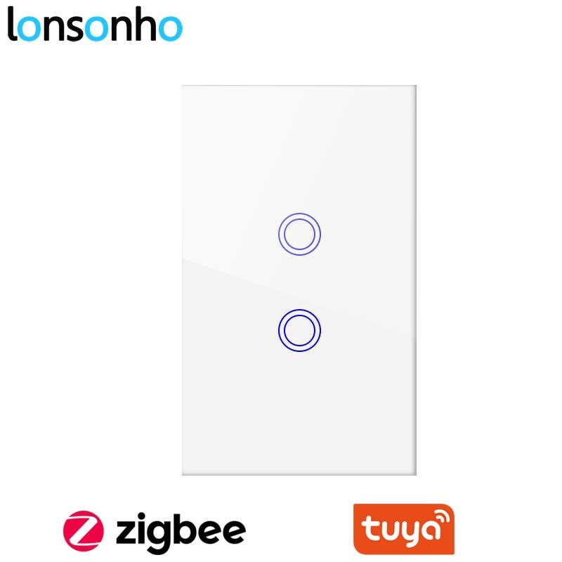 Lonsonho Tuya Zigbee Smart Switch without Neutral Wire US 1 2 3 Gang Wireless Remote Control Wall Touch Panel Light Switch