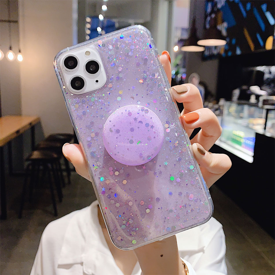 H4a29cc93483942af8a9855a13c483f80E - Bling Glitter Phone Case For iphone 11 Case 11 pro max 6 6s 7 8 Plus X XR XS Max Star Sequin Cover Funda Stand Holder Coque