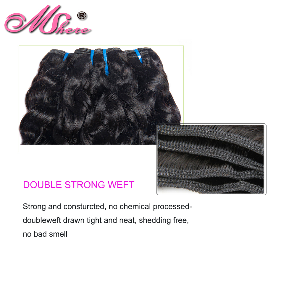 Image 4 - Mshere Indian Human Hair Water Wave Hair Weave Bundles Natural Color Non remy Hair Extensions Can Be Dyed 1Pc Hair Bundles-in Hair Weaves from Hair Extensions & Wigs