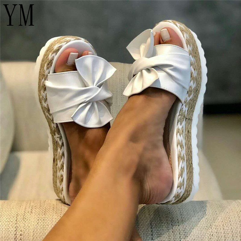 2020 Summer Women Bowknot Sandals Cute Casual Daily Comfy Slip On Platform Ladies Sandals Dress Party Peep Toe Female Slippers