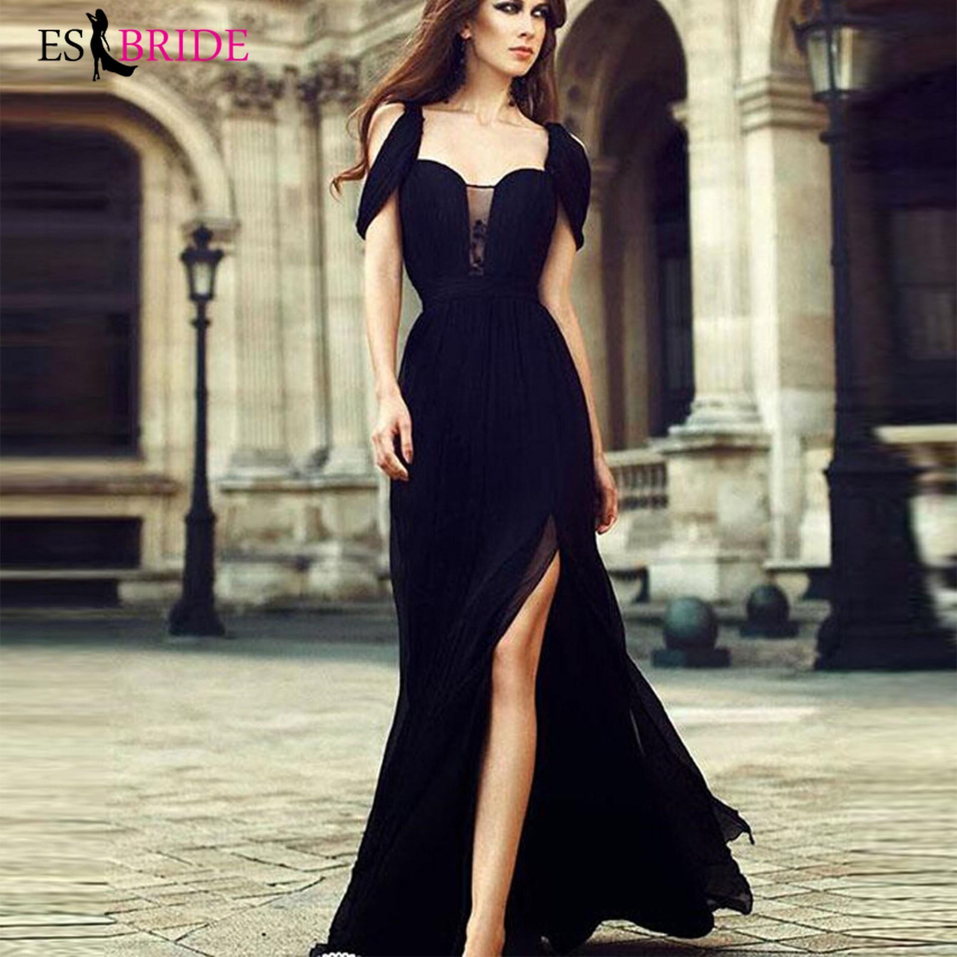 Black Simple Evening Dresses Long Women