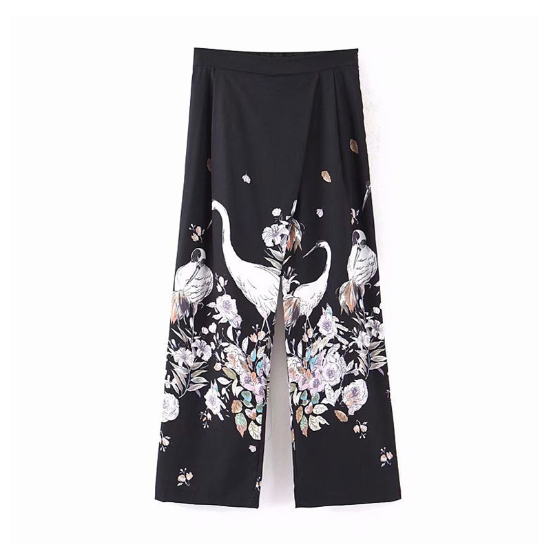 Women vintage crane print black   wide     leg     pants   zipper fly European style elegent female 2019 autumn casual wear trousers