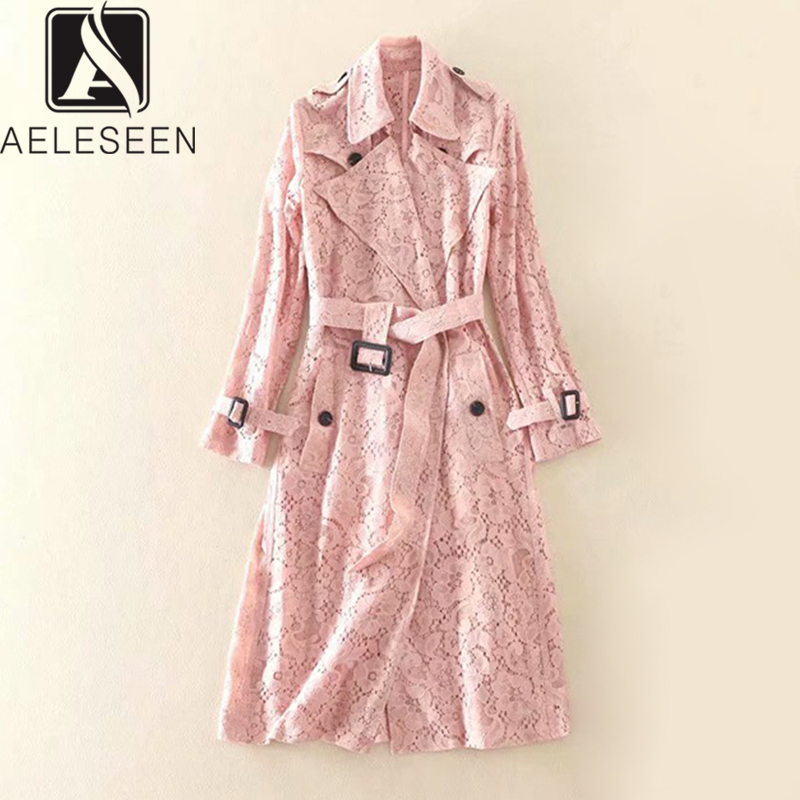 AELESEEN 2020 New Fashion Luxury Floral Lace Windbreaker Women English Style Runway Design Sashes Hollow Out X-Long Coat
