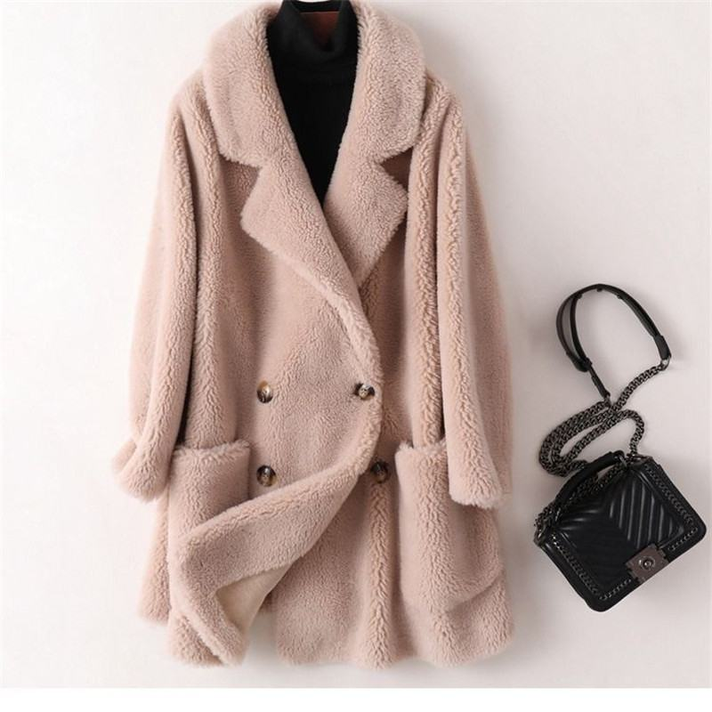 Women 2020 Winter Wool Fur Coat Fluffy Real Sheep Shearing Coat Female Plush Particles Natural Fur Jacket Abrigos Mujer Z49