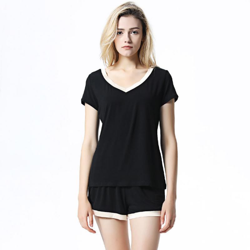 2019 Spring Summer Women Modal Cotton Pajamas Sets Short Sleeve Pyjamas V-Neck Sexy Pijama Mujer Loungewear Home Clothes