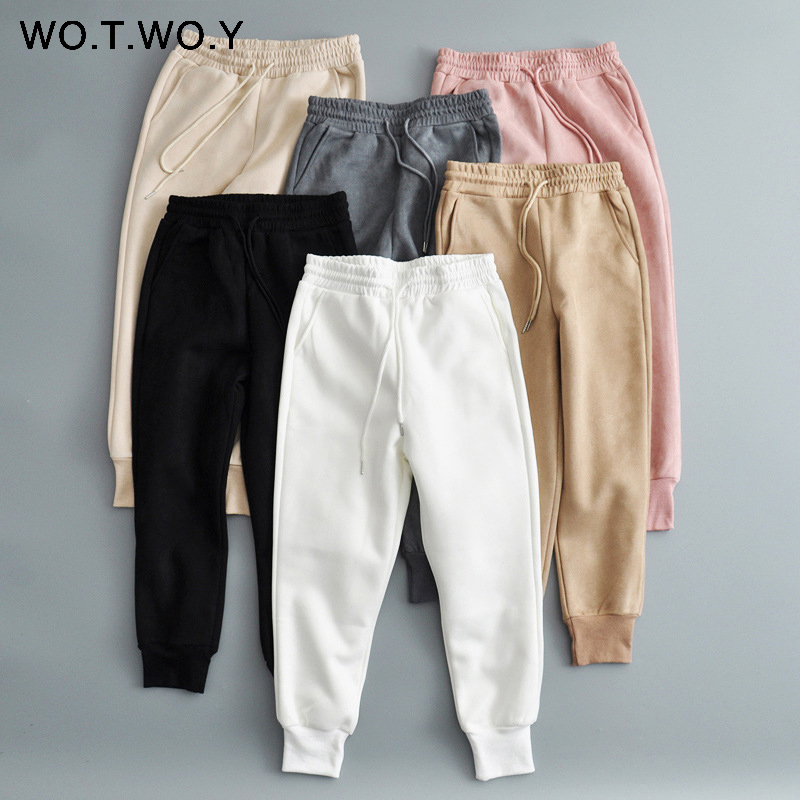 WOTWOY Casual Chammy White Khaki Pants Women 2019 High Waist Pockets Waist Rope Winter Female Pants Thick Warm Lady's Joggers