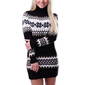 2020 New Women's Winter Warm Turtleneck Sweaters Dress Knitted Female Long Christmas Pullovers Patch