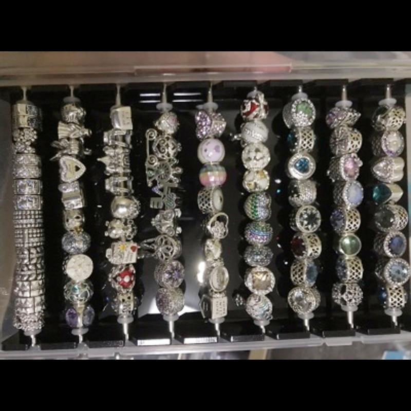 Acrylic Charm Beads Storage Organizer Case Black Jewelry Findings Display Tray Vintage DIY Bracelet Necklace Pearl Jewelry Box