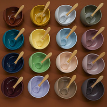 Wood-Spoon Feeding-Bowl-Set Learning-Dishes Baby Non-Slip 1set 22colors