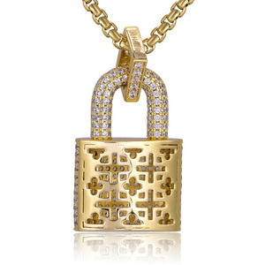 Image 4 - Micro Paved Crystal Lock Pendant Necklace Women/Men Gold Color Fine Jewelry Hiphop Top Quality CZ Christmas Gift