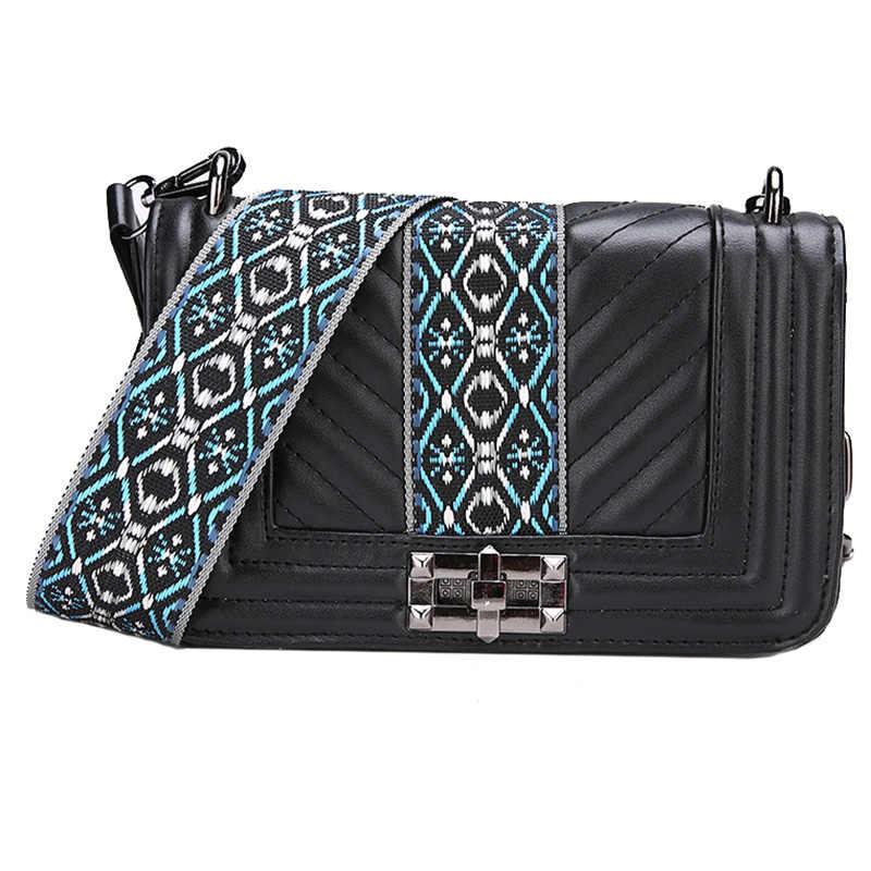 Boêmio Cinta Larga Mulheres Crossbody Sacos De Designer de Luxo Saco Do Mensageiro de Couro Pu Bolsa de Ombro Senhora Pequena Aba Bolsa Feminina 2019