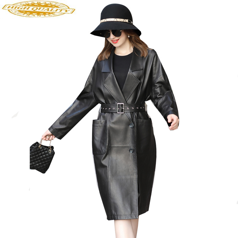 2019 Genuine Leather Jacket Autumn Jacket Women Sheepskin Coat Female Streetwear Long Windbreaker Chaqueta Mujer 9D0027