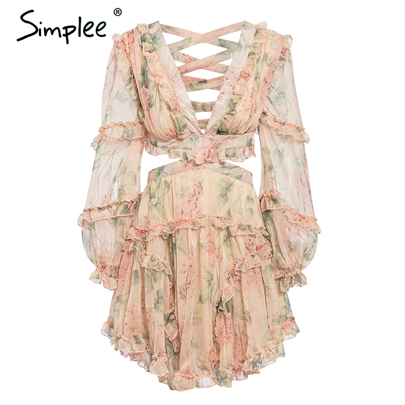 Simplee Elegant print bandage lace up chiffon dress women Summer hollow out A line beach dresses