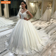 Gorgeous Boho White Wedding Dress Long Appliqued Beaded Lace Tulle Ball Gown Bridal Dresses Princess Court Train Wedding Gowns