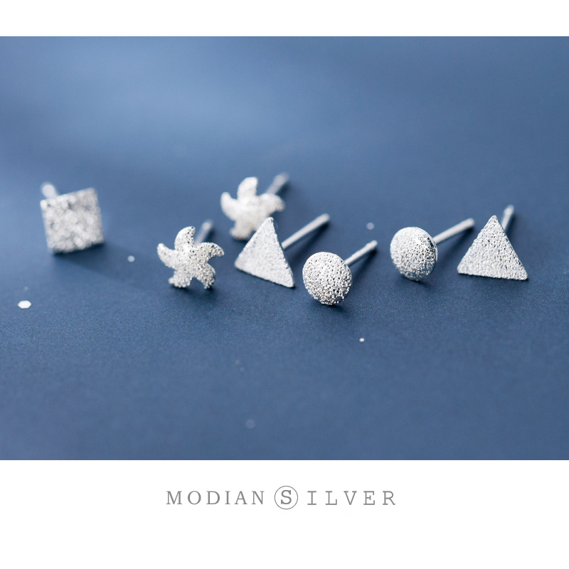 Modian Star Cross Heart Starfish Geometry Stud Earring For Women 925 Sterling Silver Glossy And Frosted Ear Studs Fine Jewelry
