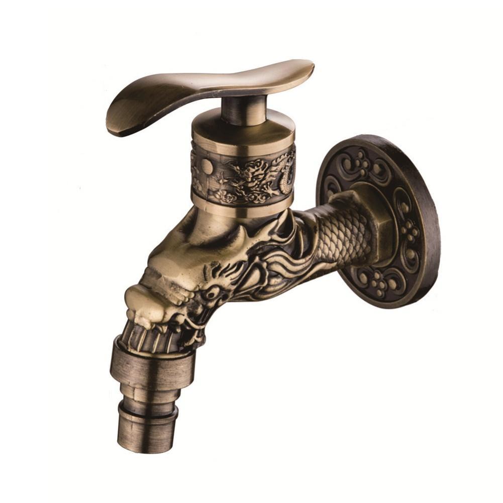 Zinc Alloy Antique Bronze Wall Mounted Faucet 1/2inch Washing Machine Water Tap
