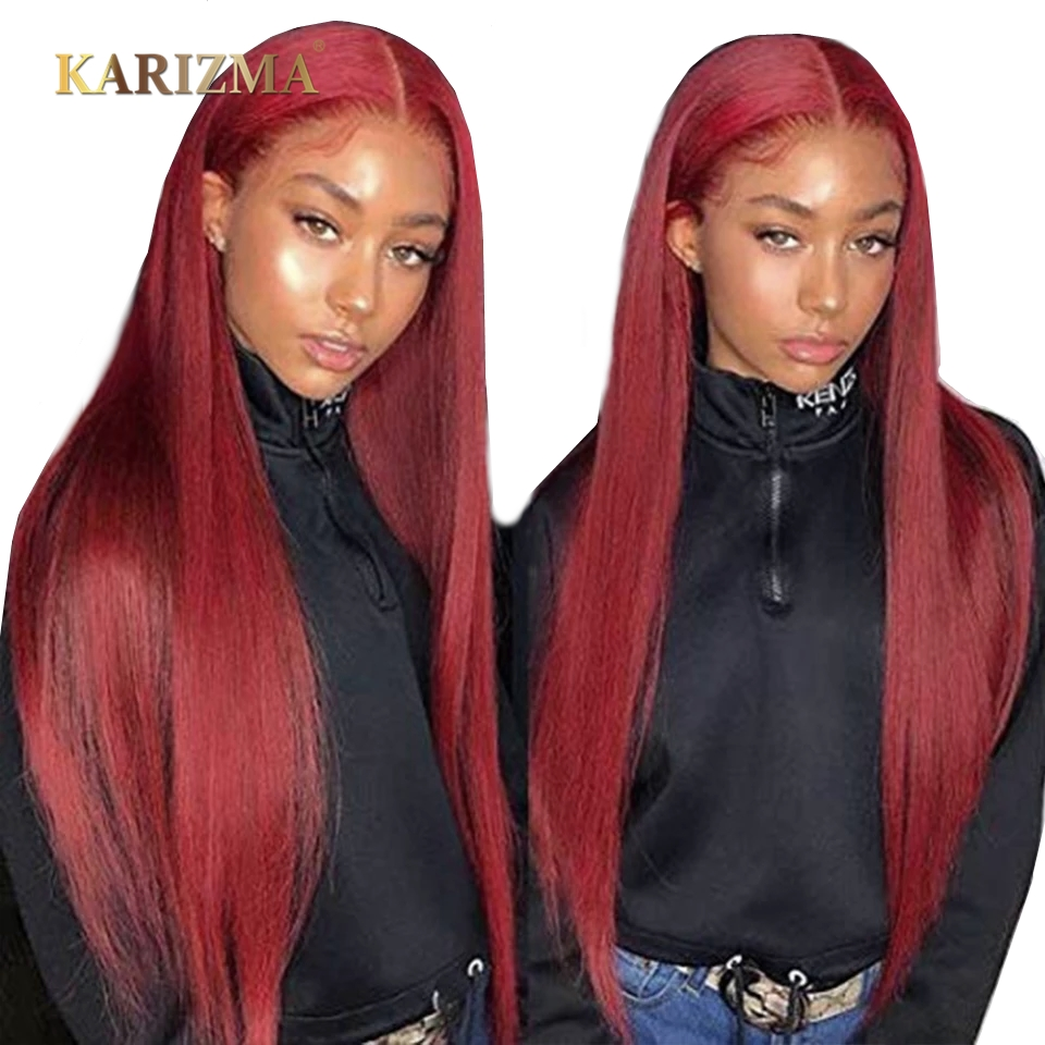 13X4 Lace Front Wigs With Baby Hair 99J Pre Plucked Lace Front Wig 150% Remy Brazilian Straight Hair Lace Front Human Hair Wigs