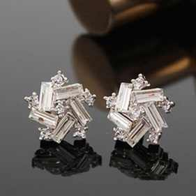 New Cute Crystal Five Star Windmill Earrings Flower Round Earrings Square Stud Earrings For Women E179