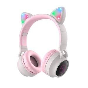Image 4 - HOCO LED หูฟังบลูทูธสาวชุดหูฟังสำหรับโทรศัพท์ PC แล็ปท็อปเด็กหูฟัง TF Card 3.5 มม.ปลั๊กไมโครโฟน