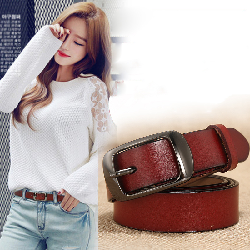 New Women's Belts Genuine Leather Brand New Designer Fashion Straps Female Waistband Pin Buckles Fancy Vintage For Jeans