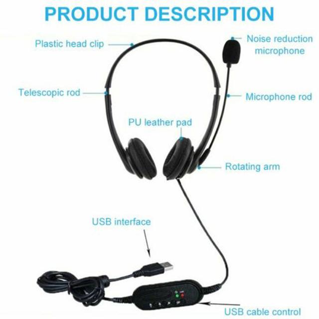 Wired Headphone USB Headset HD Lossless Sound Earphone Adjustable with Microphone for Computer PC Laptop Noise Cancelling ABS 5