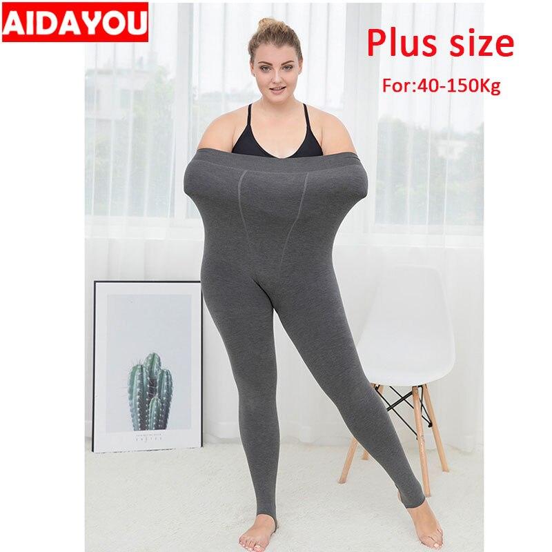 Winter Fleece Leggings Plus Size 6XL Fleece High Waist Push Up 150Kg Womens Warm Fleece Lined Legging    Ouc614a