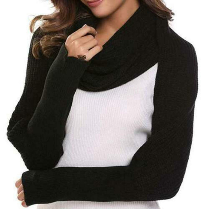 Black - Knitted Wrap Scarf With Sleeves | GoInsShop