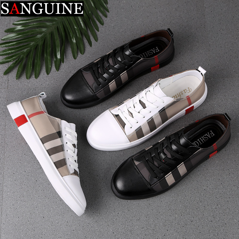 Fashion Mens Breathable Skateboard Shoes Men Fashion Sneakers High Quality Trainers Shoes Casual Genuine Leather Shoes